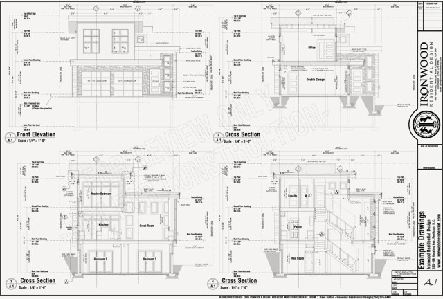 Elevation Plan And Cross Section : Ironwood residential construction plans example set