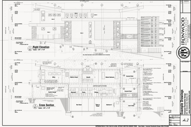 Plan Section Elevation Examples : Ironwood residential construction plans example set