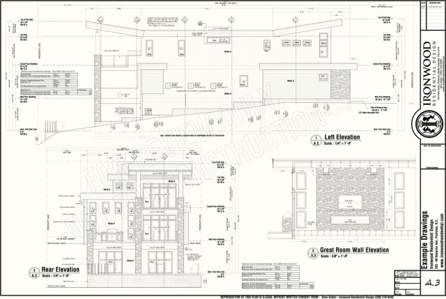 Building Drawing Plan Elevation Section : Ironwood residential construction plans example set